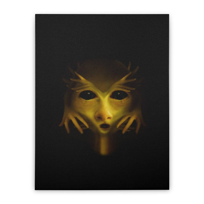 Yellow Alien Home Stretched Canvas by Allison Low Art