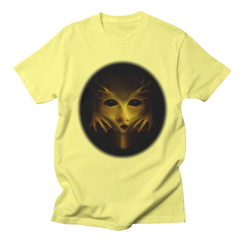 Yellow Alien Men's Regular T-Shirt by Allison Low Art