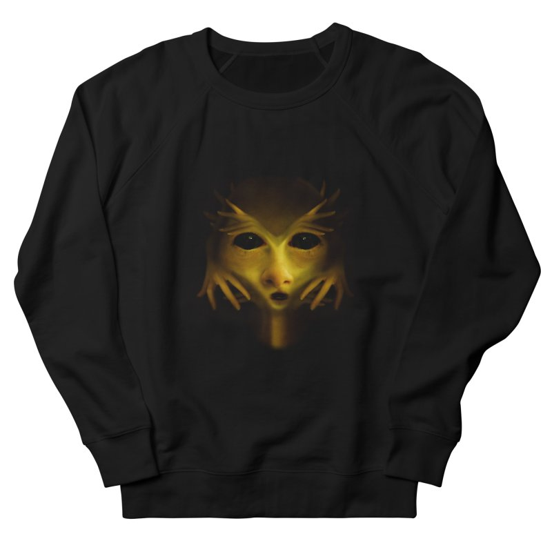 Yellow Alien Women's French Terry Sweatshirt by Allison Low Art