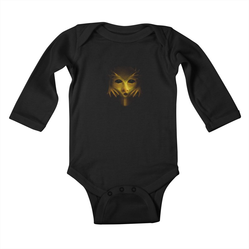 Yellow Alien Kids Baby Longsleeve Bodysuit by Allison Low Art