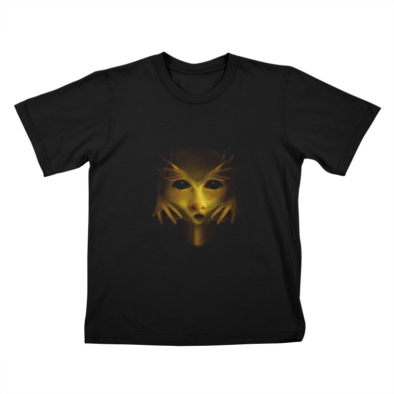 Yellow Alien Kids T-shirt by Allison Low Art
