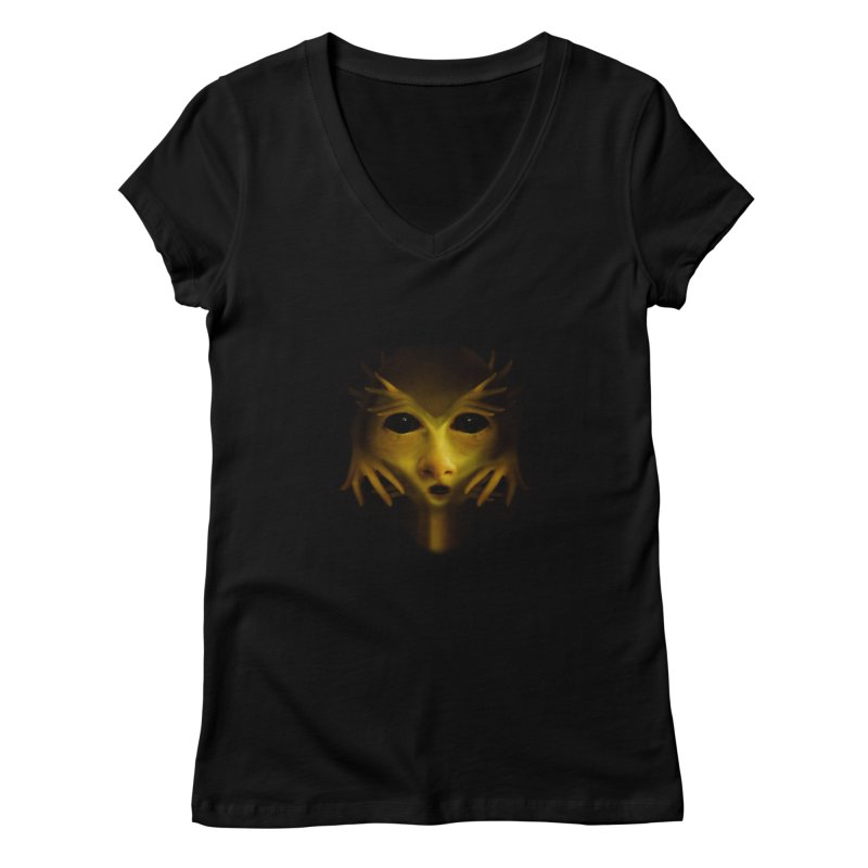 Yellow Alien Women's V-Neck by Allison Low Art