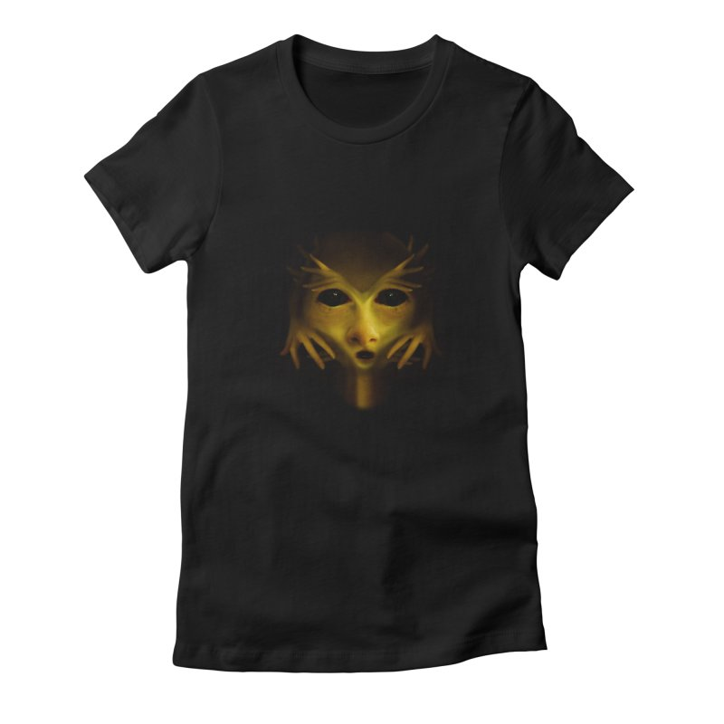 Yellow Alien Women's Fitted T-Shirt by Allison Low Art