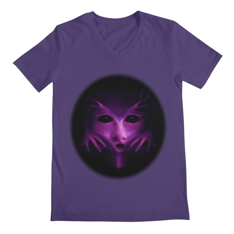 Violet Alien Men's V-Neck by Allison Low Art