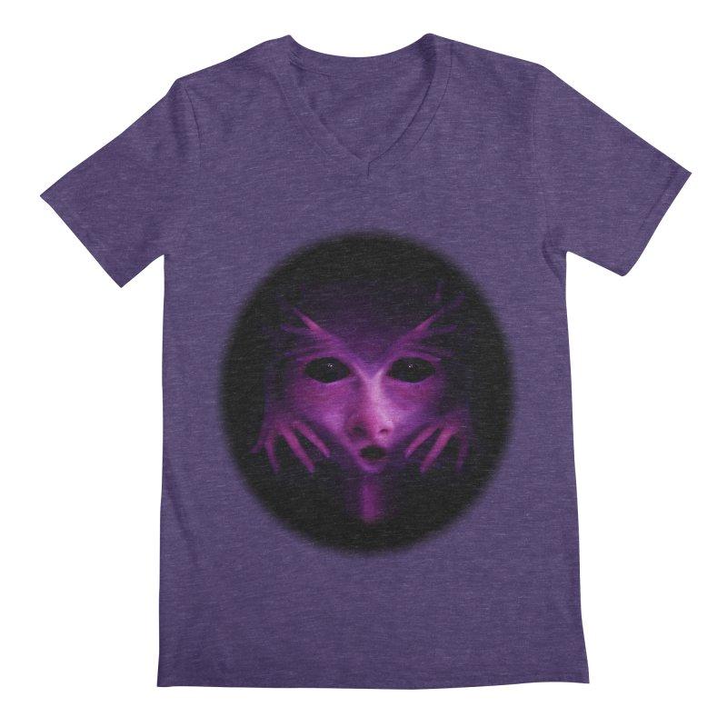 Violet Alien Men's V-Neck by Allison Low Art