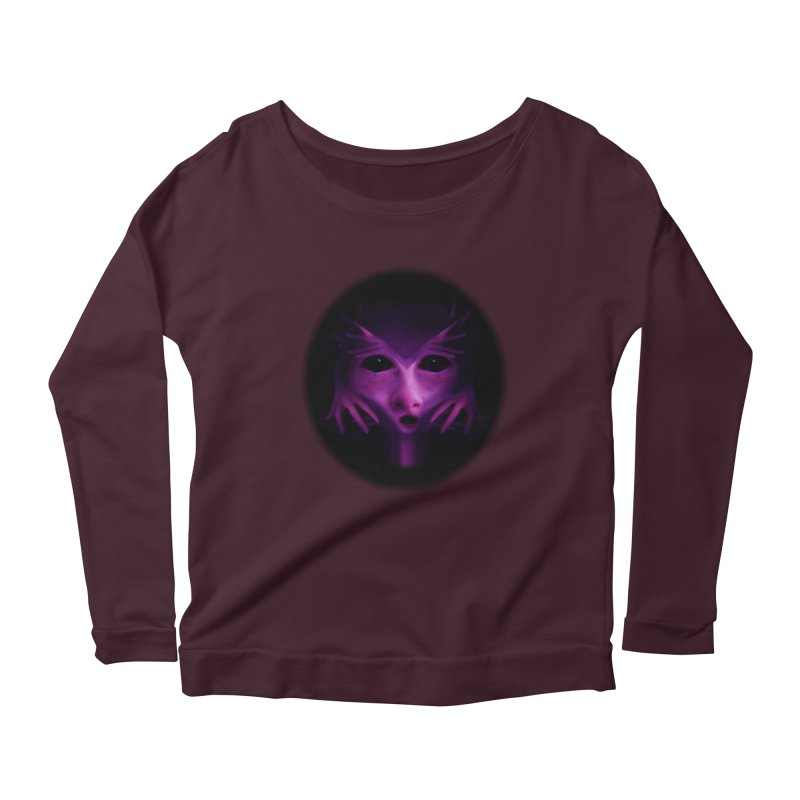 Violet Alien Women's Longsleeve Scoopneck  by Allison Low Art