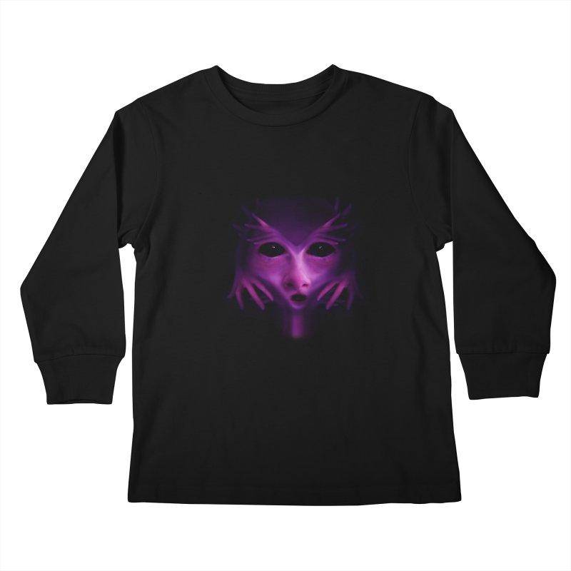 Violet Alien Kids Longsleeve T-Shirt by Allison Low Art