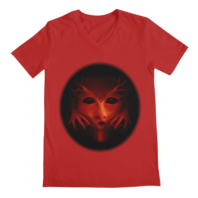 Alien Devil  Men's V-Neck by Allison Low Art