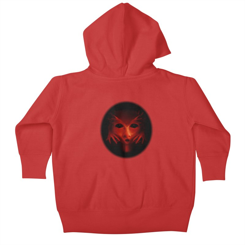 Alien Devil  Kids Baby Zip-Up Hoody by Allison Low Art