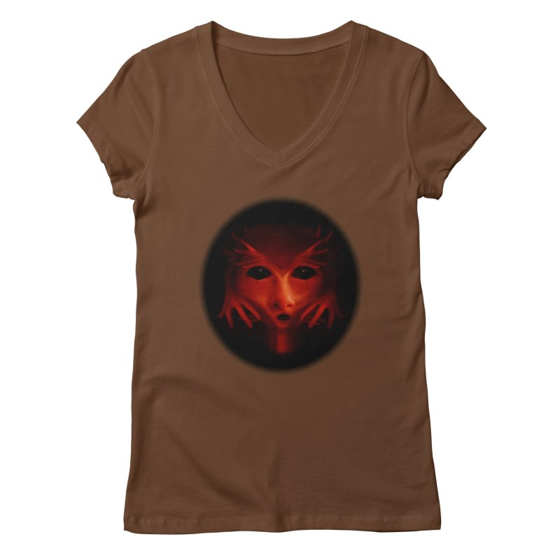 Alien Devil Women's V-Neck by Allison Low Art