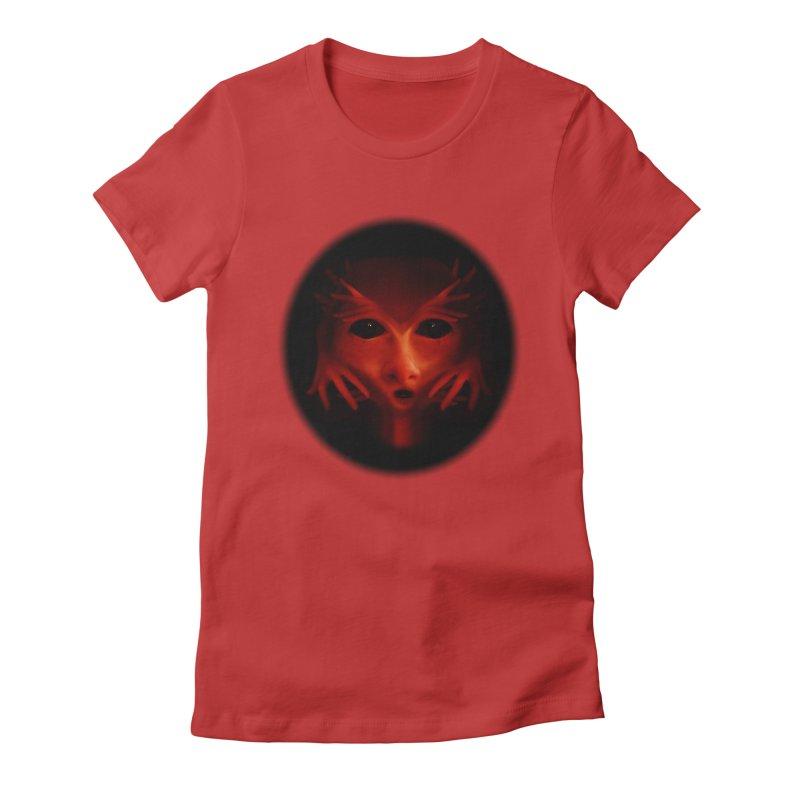 Alien Devil  Women's Fitted T-Shirt by Allison Low Art