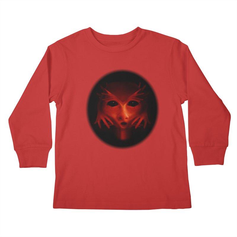 Alien Devil  Kids Longsleeve T-Shirt by Allison Low Art