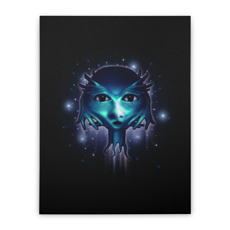 Alien Head Home Stretched Canvas by Allison Low Art
