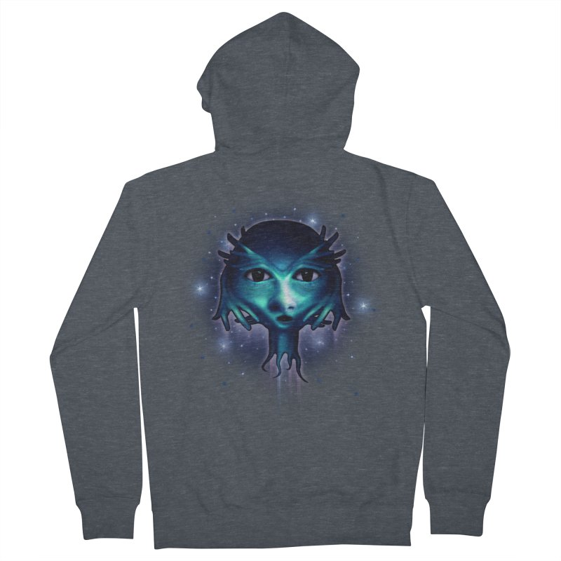 Alien Head Women's French Terry Zip-Up Hoody by Allison Low Art