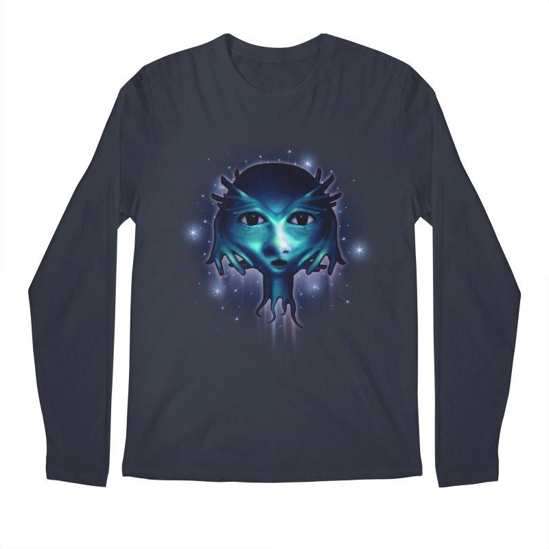 Alien Head Men's Regular Longsleeve T-Shirt by Allison Low Art