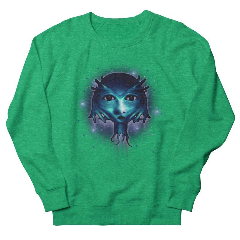 Alien Head Women's French Terry Sweatshirt by Allison Low Art