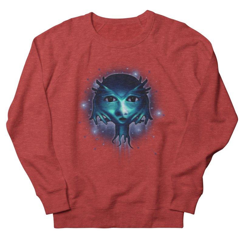 Alien Head Women's French Terry Sweatshirt by Allison Low Art
