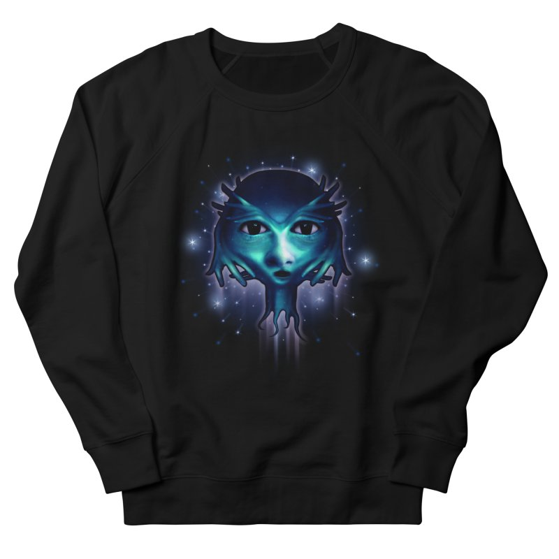 Alien Head Men's French Terry Sweatshirt by Allison Low Art