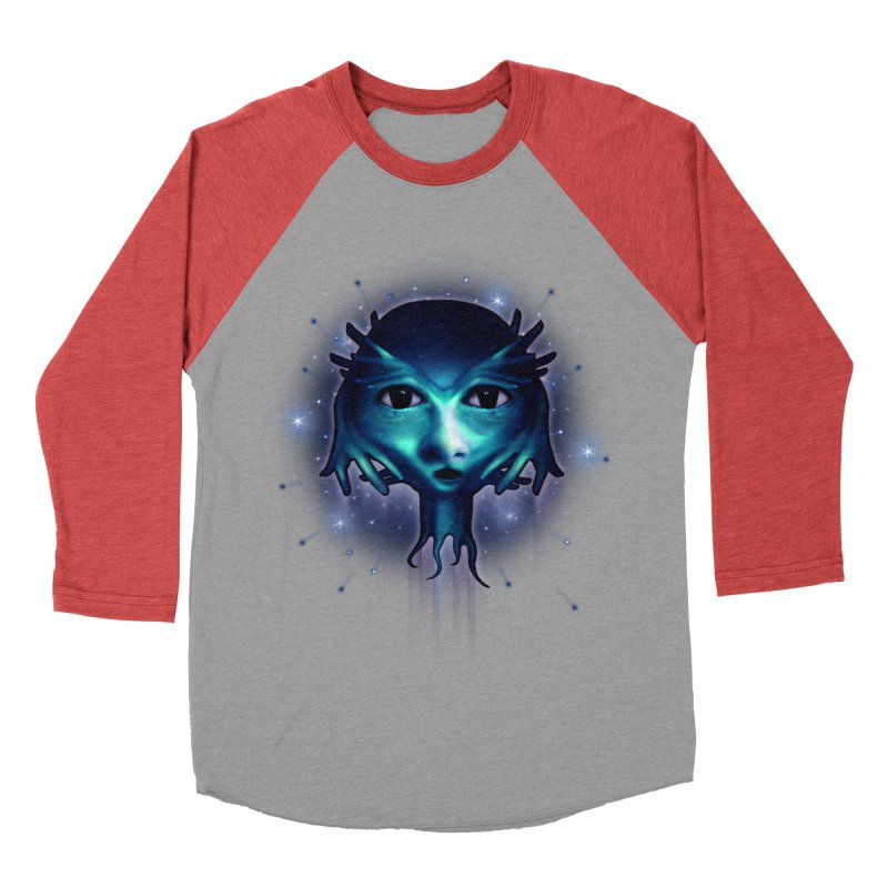 Alien Head Men's Baseball Triblend T-Shirt by Allison Low Art