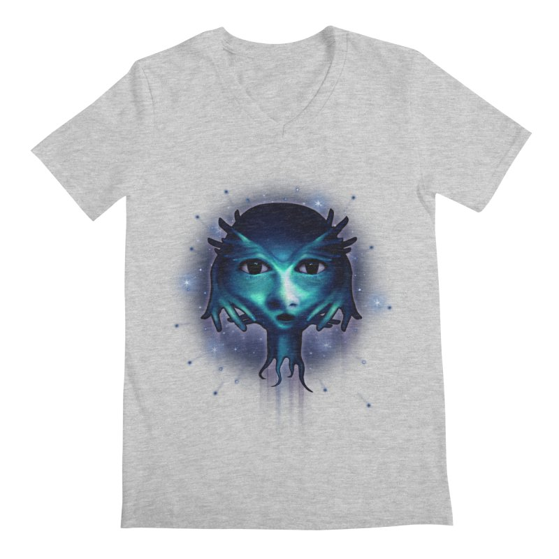 Alien Head Men's Regular V-Neck by Allison Low Art