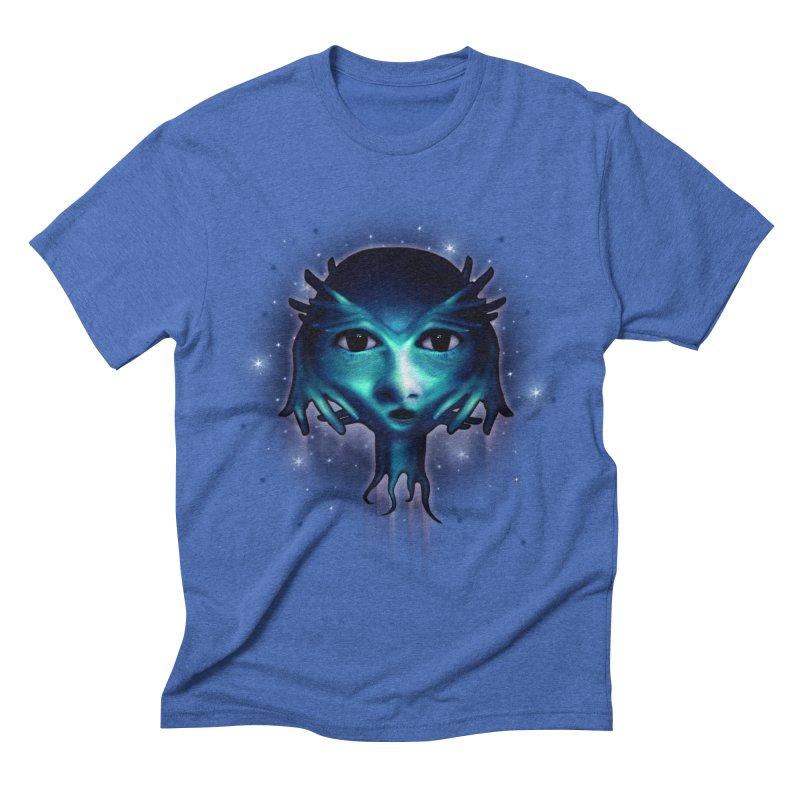 Alien Head Men's Triblend T-shirt by Allison Low Art