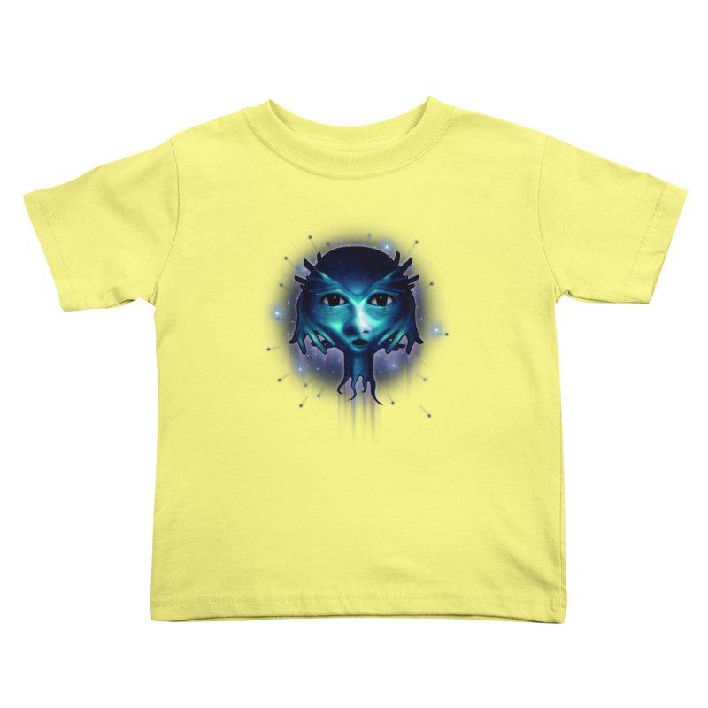 Alien Head Kids Toddler T-Shirt by Allison Low Art