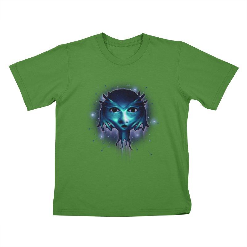 Alien Head Kids T-Shirt by Allison Low Art