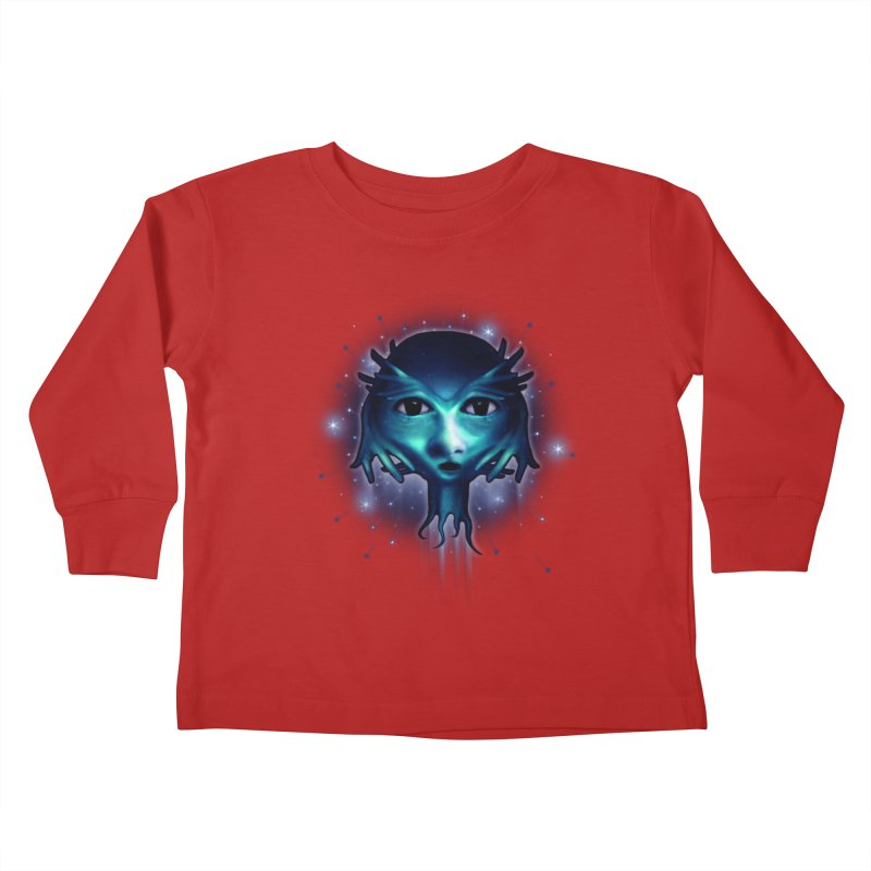 Alien Head Kids Toddler Longsleeve T-Shirt by Allison Low Art