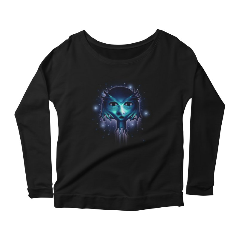 Alien Head Women's Longsleeve Scoopneck  by Allison Low Art