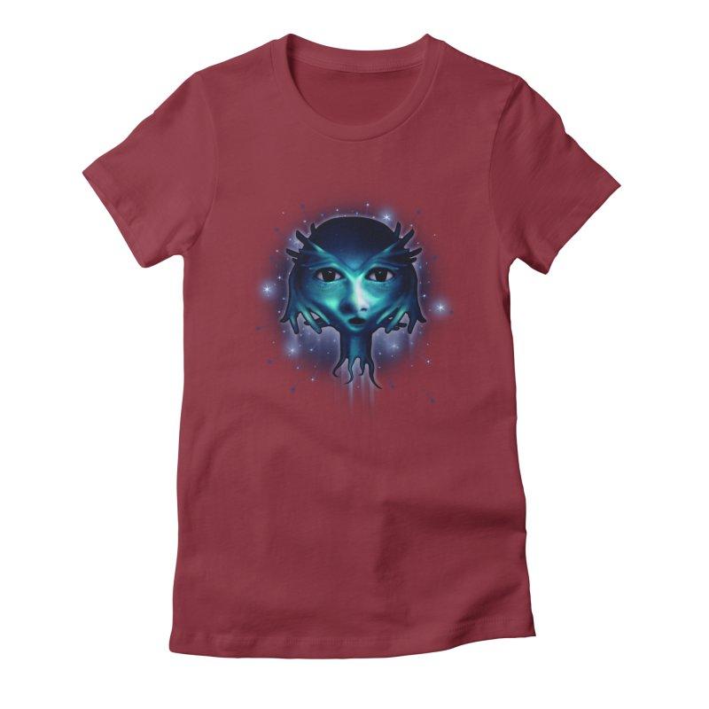 Alien Head Women's Fitted T-Shirt by Allison Low Art