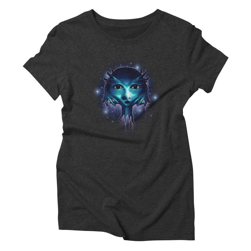 Alien Head Women's Triblend T-shirt by Allison Low Art