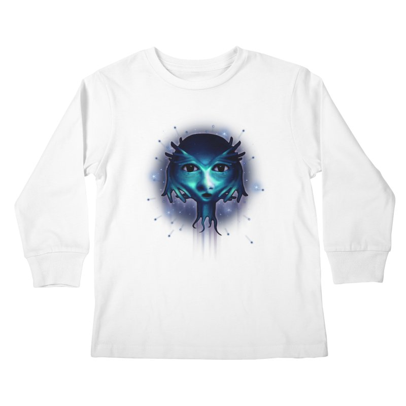 Alien Head Kids Longsleeve T-Shirt by Allison Low Art