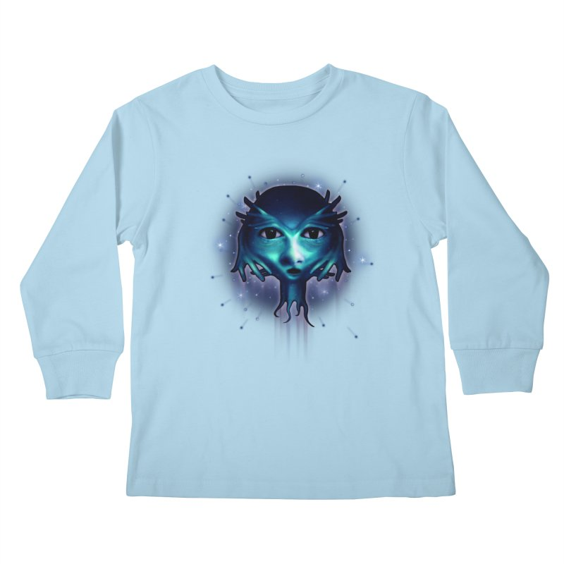Alien Head Kids Longsleeve T-Shirt by Allison Low Art