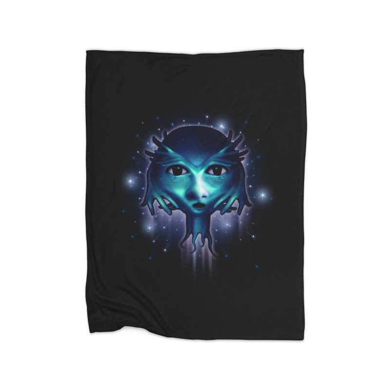 Alien Head Home Blanket by Allison Low Art