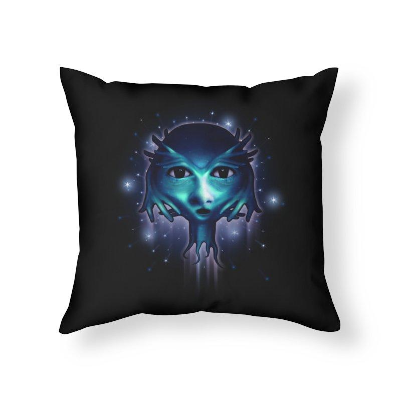 Alien Head Home Throw Pillow by Allison Low Art