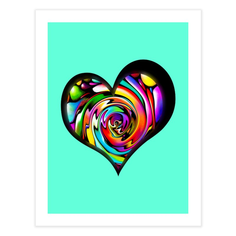 Rainbow Heart Swirl Home Fine Art Print by Allison Low Art