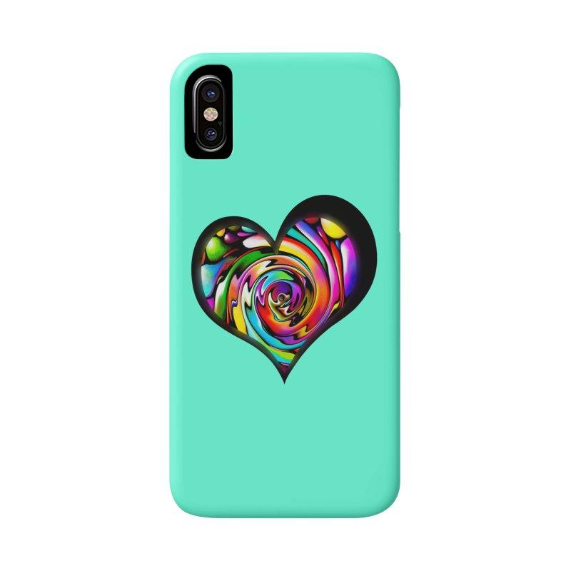 Rainbow Heart Swirl Accessories Phone Case by Allison Low Art