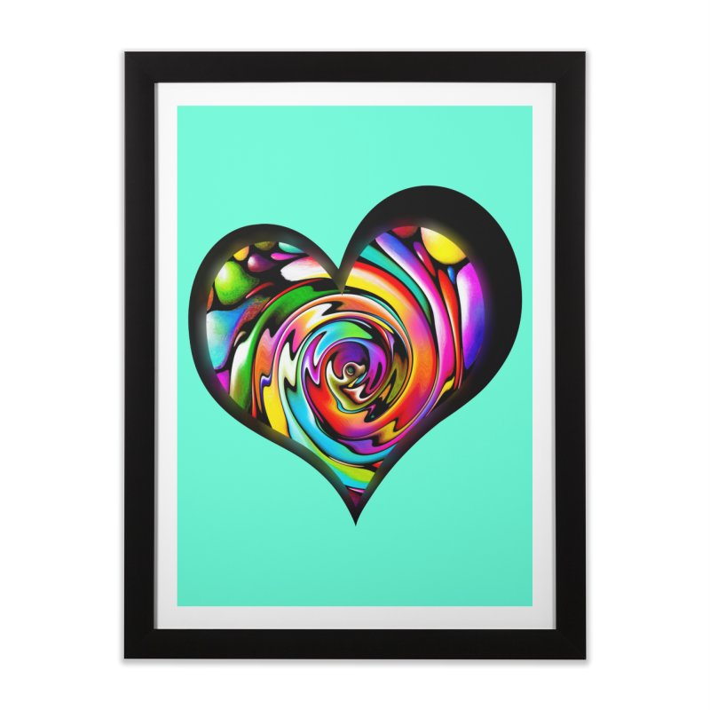 Rainbow Heart Swirl Home Framed Fine Art Print by Allison Low Art