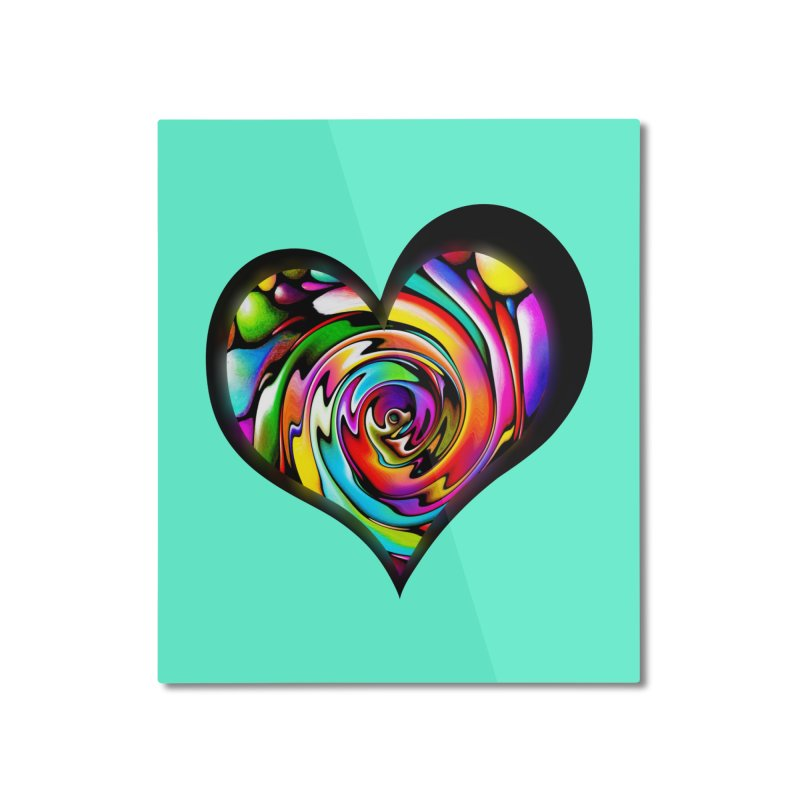 Rainbow Heart Swirl Home Mounted Aluminum Print by Allison Low Art