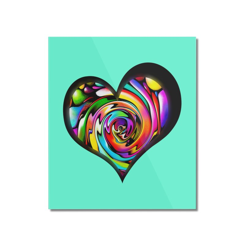 Rainbow Heart Swirl Home Mounted Acrylic Print by Allison Low Art