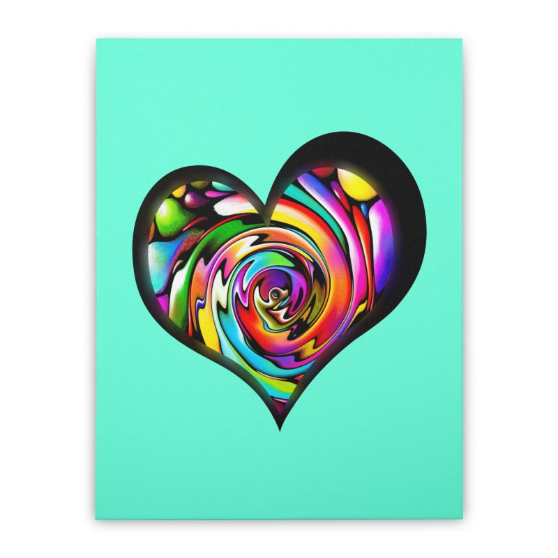 Rainbow Heart Swirl Home Stretched Canvas by Allison Low Art