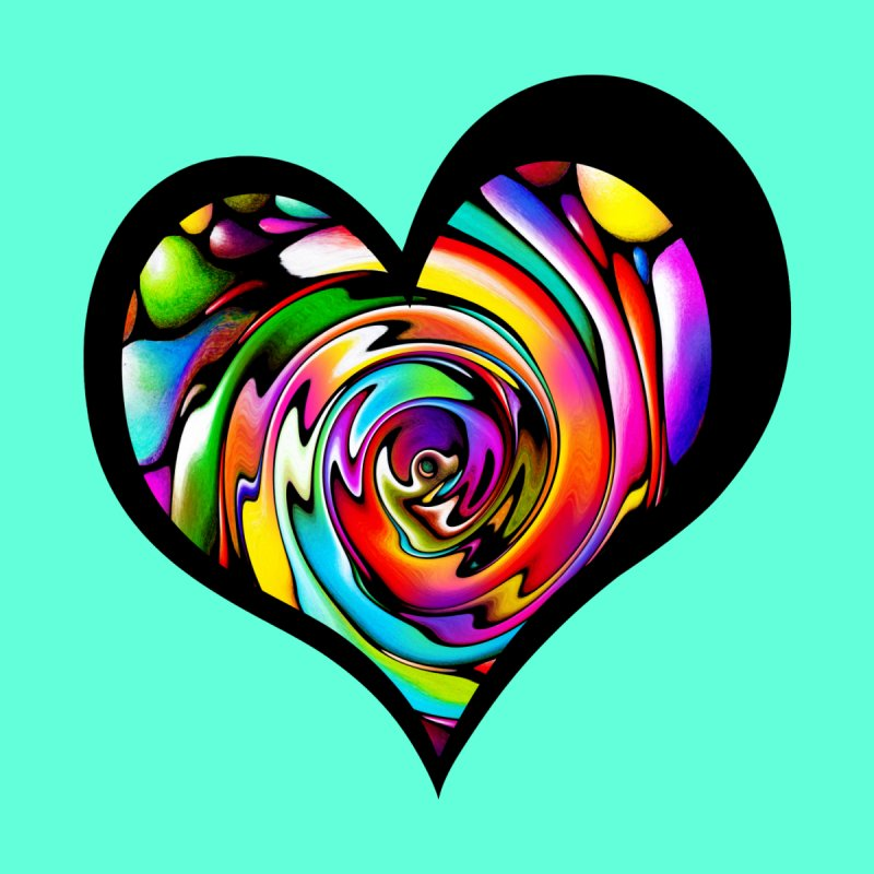 Rainbow Heart Swirl by Allison Low Art