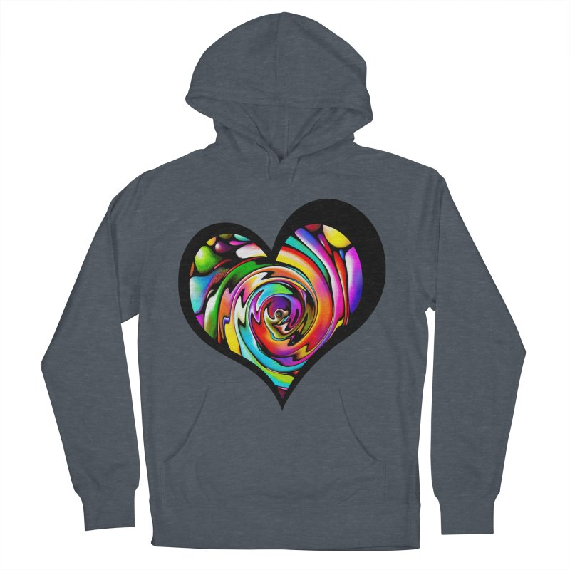 Rainbow Heart Swirl Women's French Terry Pullover Hoody by Allison Low Art