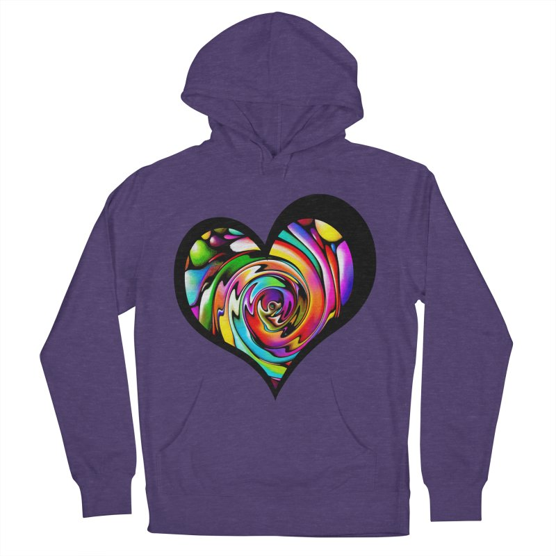 Rainbow Heart Swirl Men's French Terry Pullover Hoody by Allison Low Art