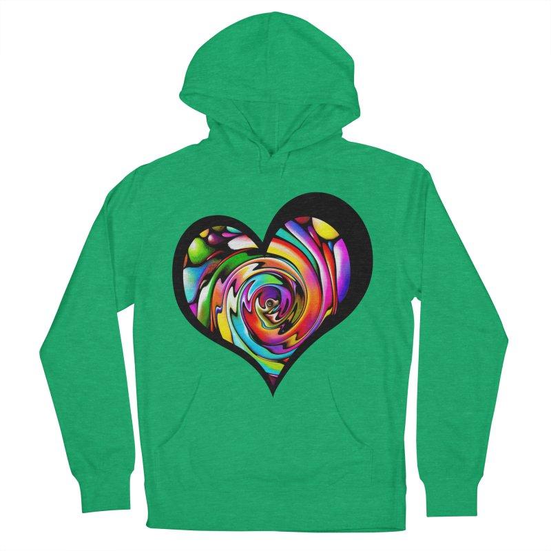 Rainbow Heart Swirl Men's Pullover Hoody by Allison Low Art