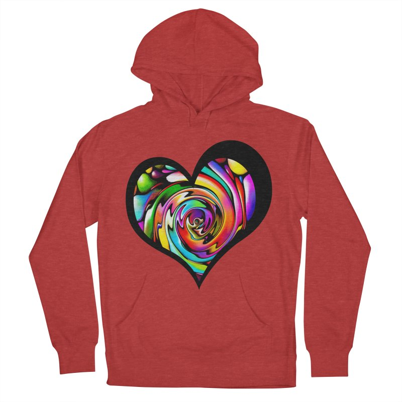 Rainbow Heart Swirl Men's Pullover Hoody by Allison Low Art