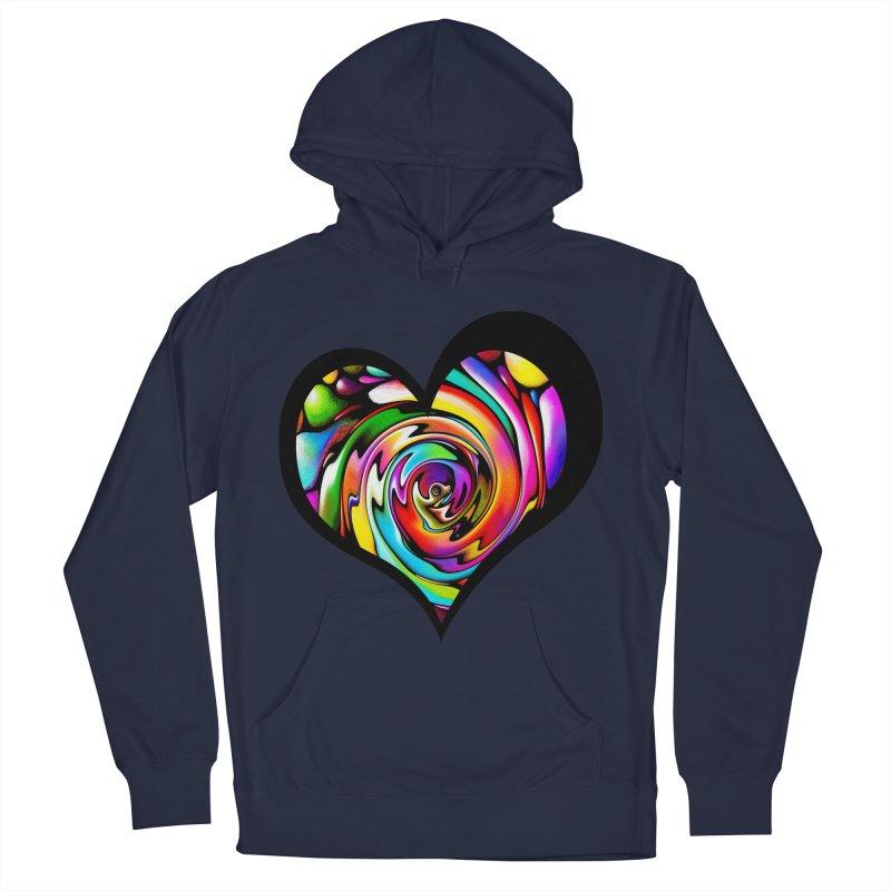 Rainbow Heart Swirl Men's French Terry Pullover Hoody by Allison Low Art