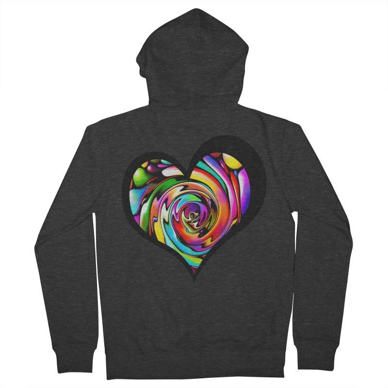 Rainbow Heart Swirl Women's French Terry Zip-Up Hoody by Allison Low Art