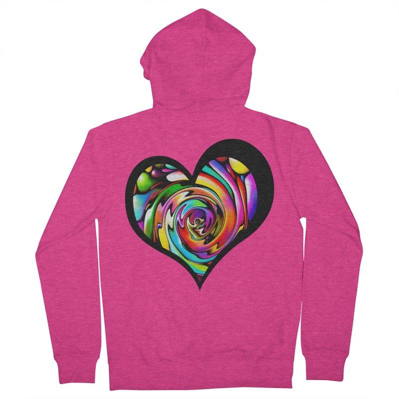 Rainbow Heart Swirl Women's Zip-Up Hoody by Allison Low Art