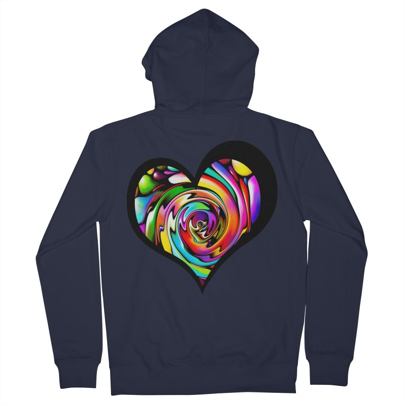 Rainbow Heart Swirl Women's French Terry Zip-Up Hoody by Allison Low Art